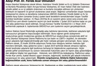 Kadın ve LGBTİ+ Örgütlerinden Çağrı:  Türkiye'nin İstanbul Sözleşmesi Denetleme Komitesi (GREVIO) Adayı Prof. Dr. Feride Acar Olmalıdır!
