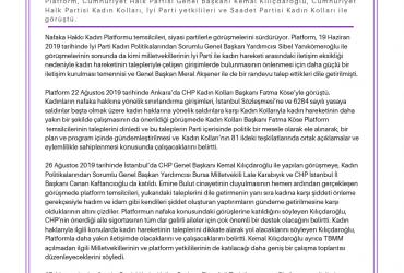 Nafaka Hakkı Kadın Platformu, Kadınların Nafaka Hakkına Dokunulmaması ve İstanbul Sözleşmesi'nin Uygulanması için Siyasi Partilerin Kapısını Çalıyor